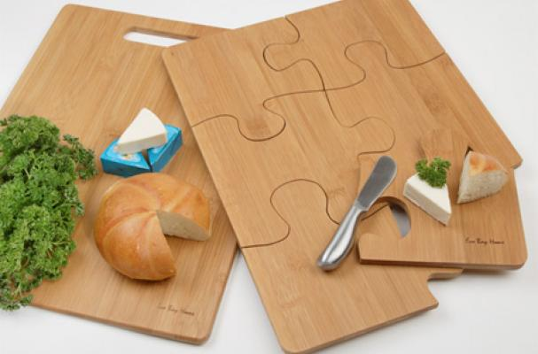 Foodista The Puzzle Cutting Board Separates Into Serving Trays