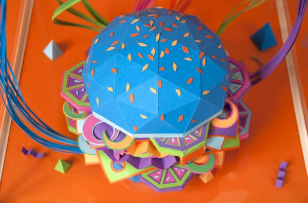 Neon Papercraft Burger