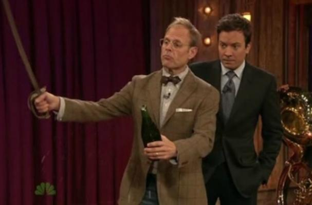 Jimmy Fallon Learns how to Saber a Champagne Bottle
