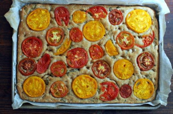 Basil Foccaccia with Summer Tomatoes