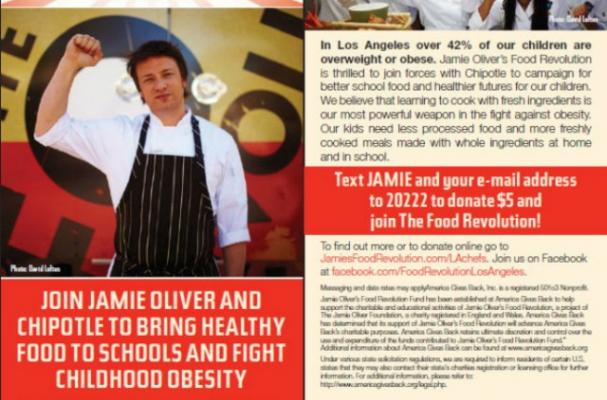 Jamie Oliver's Food Revolution text campaign for childhood obesity.