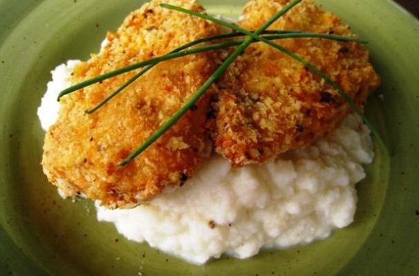 Baked Fried Chicken with Cauliflower Mash
