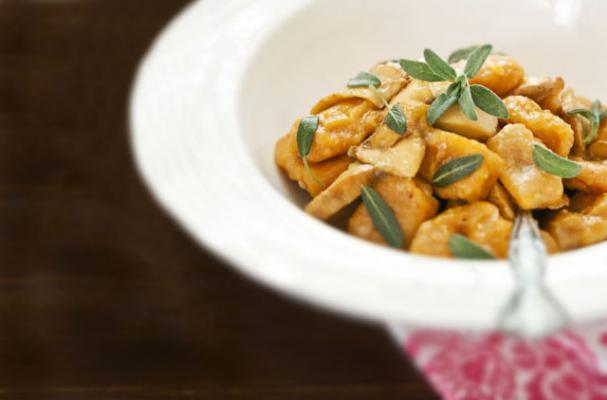 sweet potato gnocchi with chanterelles and sage
