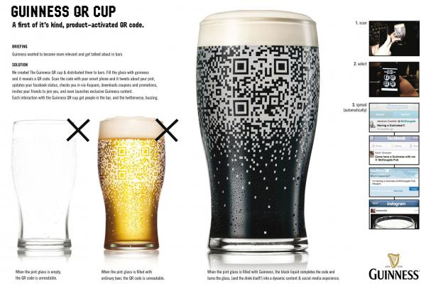 guinness qr code pint glass beer social media