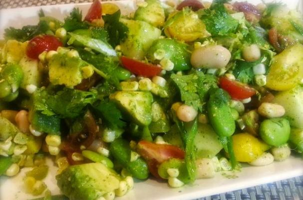 Summer Vegetable Salad with Cilantro Lime Dressing
