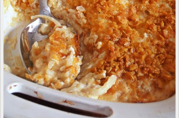 Scrumptious Cheesy Hash Brown Casserole with Corn Flake Topping