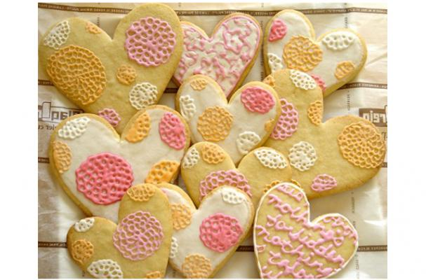 Heart Shaped Sugar Cookies with Royal Icing Lace