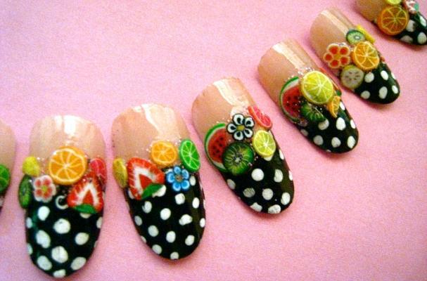 Polka Dot Fruit Nails