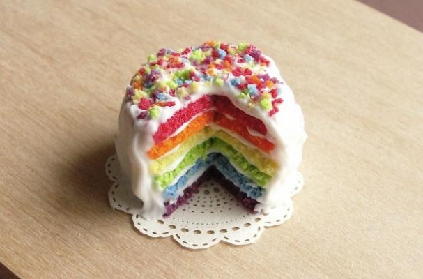 Miniature Rainbow Layered Cake