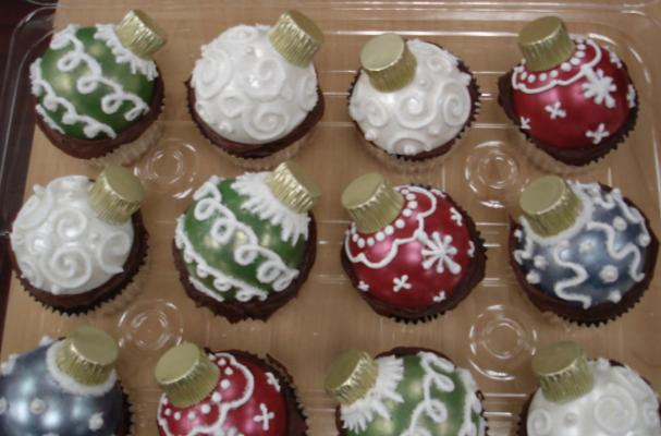 Chocolate Christmas Ornament Cupcake Toppers