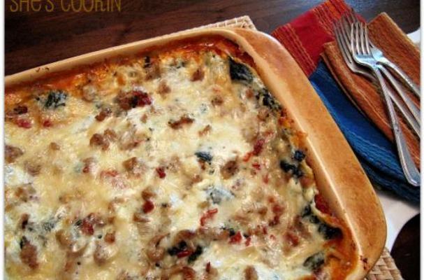 Foodista   Hearty Kale and Italian Sausage Lasagna with Bechamel