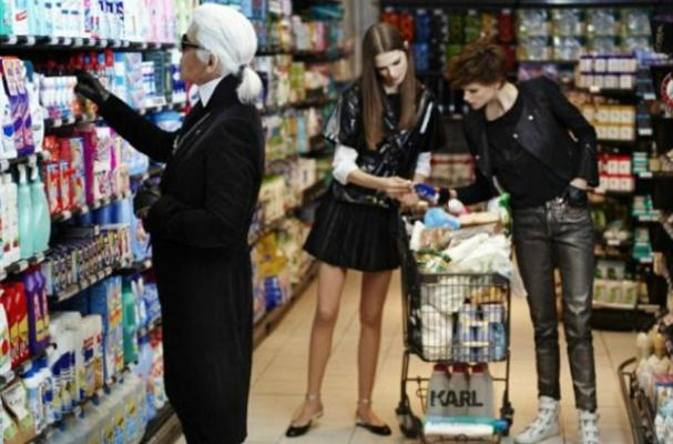 Karl Lagerfeld Goes Grocery Shopping for the First Time