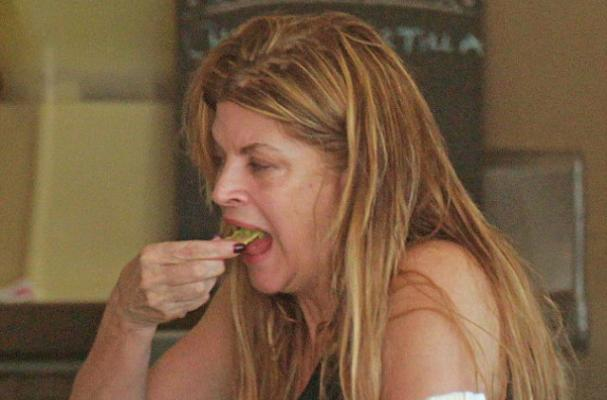 Kirstie Alley Chows Down on Chips and Dip