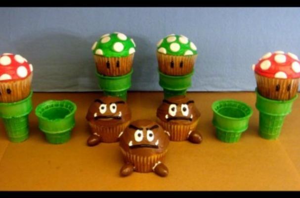 Foodista Recreate The Mushroom Kingdom With Mario Brothers Cupcakes