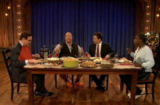 Jimmy Fallon Hosts Family Dinner on Late Night Talk Show
