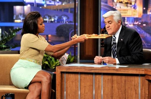 Michelle Obama Tries to Get Jay Leno to Eat his Veggies