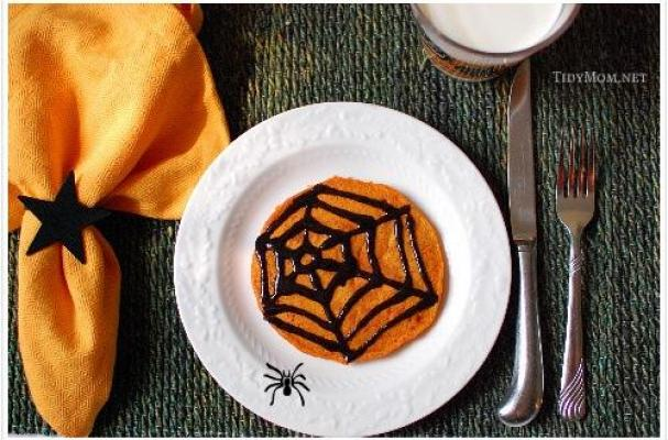 Halloween Pumpkin Pancakes with Black Cinnamon Syrup