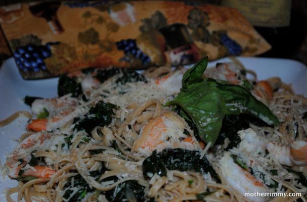 Whole Wheat Pasta With Shrimp and Chard