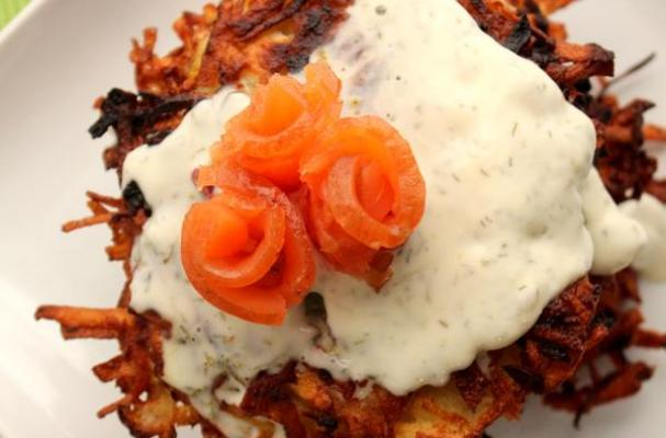 Potato Parsnip Pancakes with Dill Creme Fraiche & Smoked Salmon