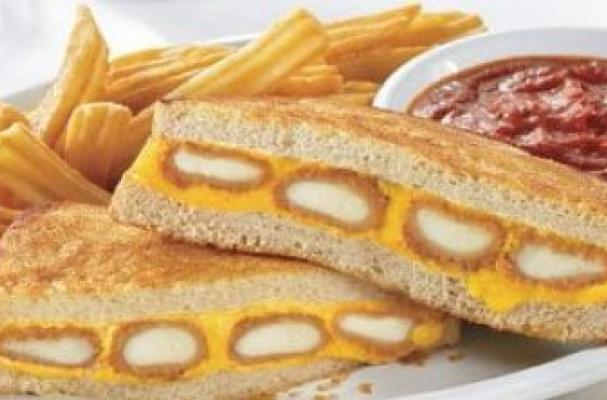 This Sandwich Boasts Of Four Fried Mozzarella Sticks And Melted American Cheese Grilled Between Two Slices Of