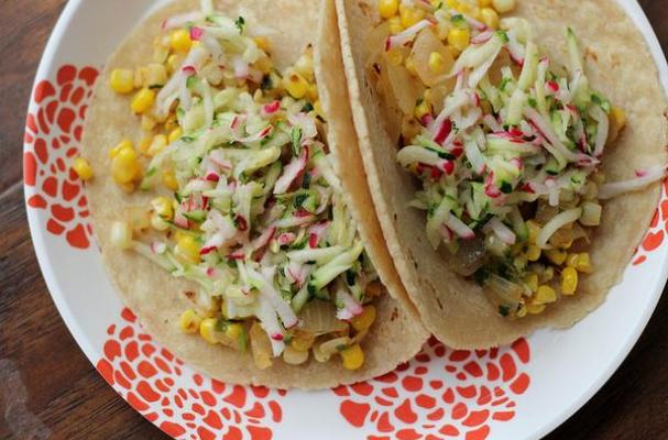 Tacos with Corn, Zucchini-Radish Slaw and Avocado