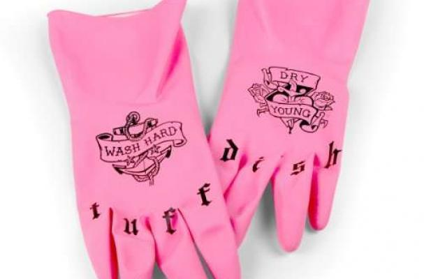 to washing dishes with these tattoo kitchen gloves . The pink kitchen