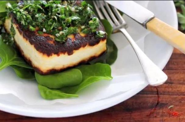 Tofu Steaks with Chimichurri &  Baby Spinach