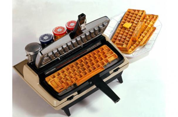 typewriter keyboard waffle iron