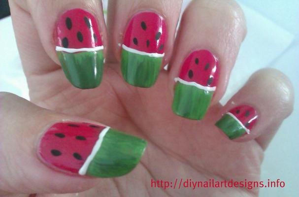 Foodista Watermelon Nail Art Tutorial