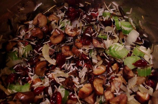 wild rice stuffing with hazelnuts and cranberries