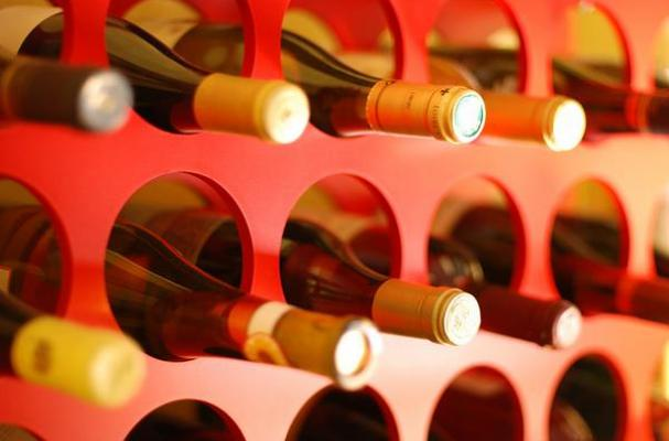 Wine bottles in rack