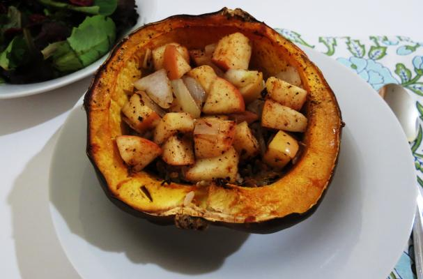 Image of Apple And Rice Stuffed Acorn Squash, Foodista