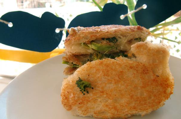 "Image of A ""whale"" Of A Grilled Cheese, With Roasted Broccoli, Garlic And Caramelized Onions, Foodista"