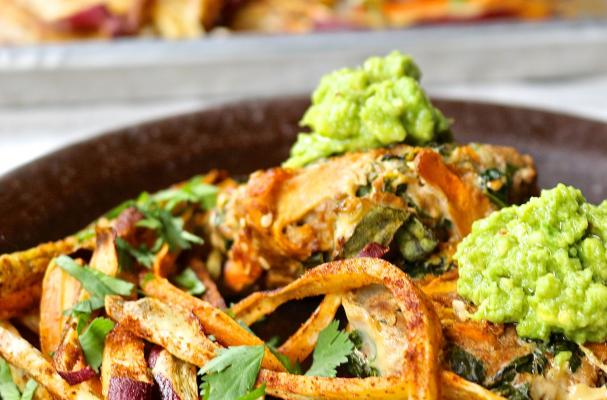 Veggie and Beef Burgers with Spicy Sweet Potato Fries & Guacamole