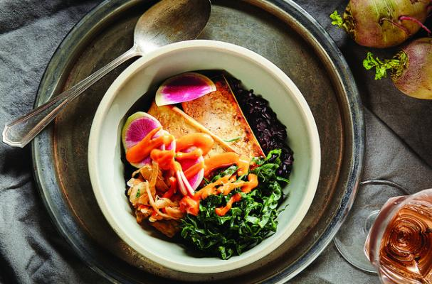 Black Rice, Tofu, and Greens Bowl with Kimchi and Spicy Mayo