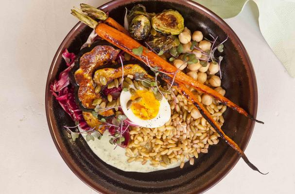 FARMERS' MARKET VEGETABLE BOWL WITH YOGURT GREEN GODDESS AND SALTY PEPITAS