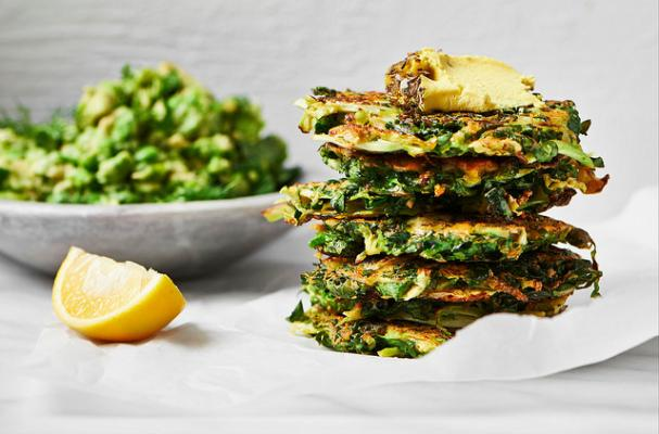 Brussels Sprout and Kale Fritters with Nut Cheese and Avocado, Pea and Mint Smash