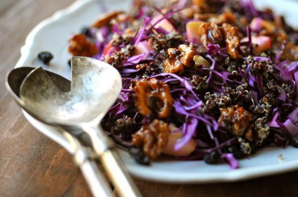red cabbage salad with walnuts