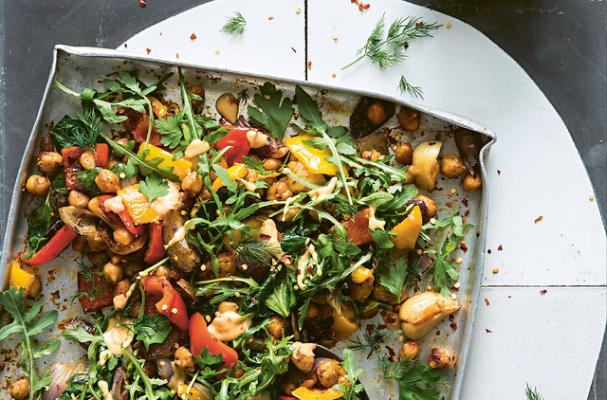 ROAST CHICKPEAS & PEPPERS WITH WARM CHILLI TAHINI
