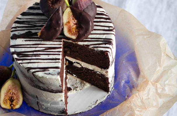 Gluten-Free Chocolate Cake with Red Wine-Soaked Figs and Vegan Buttercream