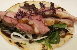 5-Spice Duck with Quick Pickled Daikon, Shiso and 5-Spice Tortillas