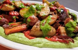 Roast Veg with Smashed Peas and Herb Sauce