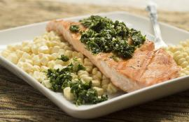 Grilled Salmon with Fresh Herb Pesto