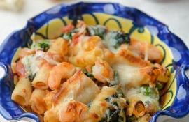 Baked Ziti with Garlic Shrimp and Broccoli
