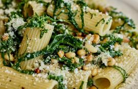 Rigatoni with Kale, Pecorino Cheese, and Pine Nuts