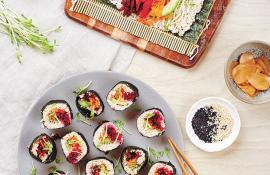Raw Rainbow Vegetable Sushi with Quick Pickled Ginger