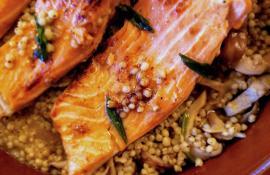 Pan-Seared Salmon with Shiitake Mushrooms and Miso Sorghum