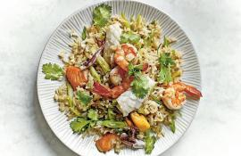 Brown Rice Seafood Stir-Fry with Lemongrass and Cilantro