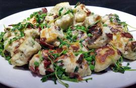 Gluten-Free Basil Ricotta Dumplings with Creamy Peas and Pea Shoots