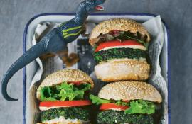 Vegetarian Dino Burgers made with spinach, peas, basil, and parmesan